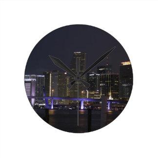 Miami Night Skyline Round Clock