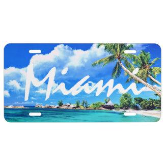 Miami Palm Trees Aluminum License Plate