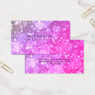 Miami Pink Bokeh Lights Business Card