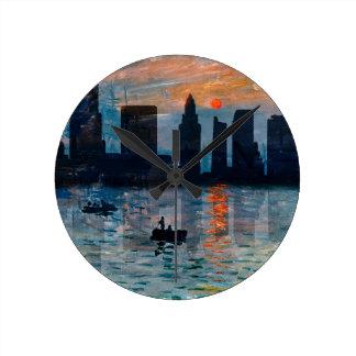 Miami Skyline 7 Round Clock