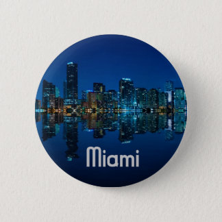 Miami Skyline at Dusk 2 Inch Round Button