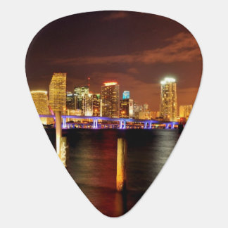 Miami skyline at night, Florida Guitar Pick