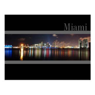 Miami Skyline at Night Panorama Photo- Postcard