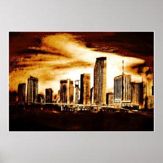 Miami Skyline Charcoal Poster