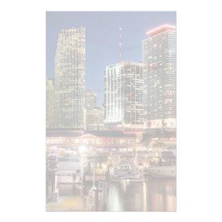Miami skyline city in Florida Personalized Stationery