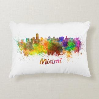 Miami skyline in watercolor accent pillow