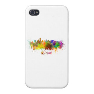 Miami skyline in watercolor iPhone 4/4S cases