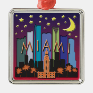 Miami Skyline Mega Color Metal Ornament
