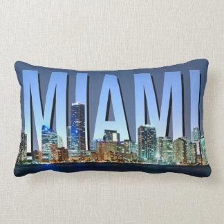 Miami Skyline Panorama Lumbar Pillow