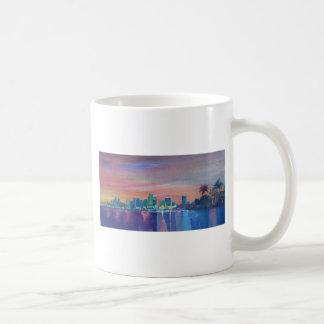 Miami Skyline Silhouette At Sunset In Florida Coffee Mug