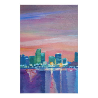 Miami Skyline Silhouette At Sunset In Florida Stationery