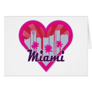 Miami Skyline Suburst Heart Card