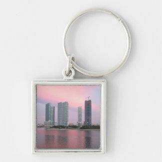 Miami sunrise Silver-Colored square keychain