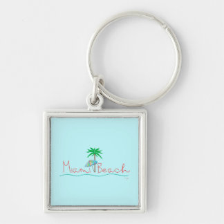 Miami with Palm and Umbrella Keychain