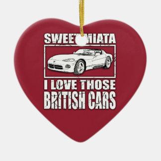Miata Viper british car joke Ceramic Heart Ornament