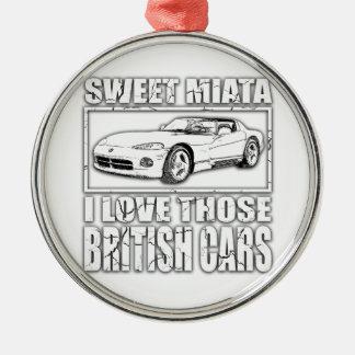 Miata Viper british car joke Silver-Colored Round Ornament