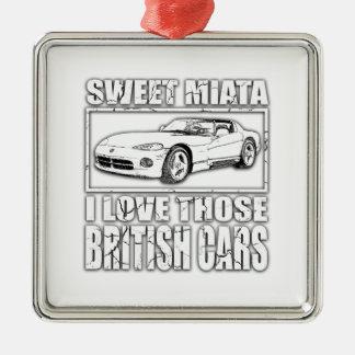 Miata Viper british car joke Silver-Colored Square Ornament