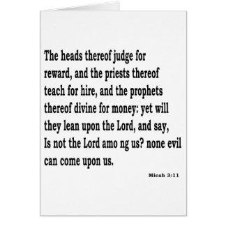 Micah 3:11 card