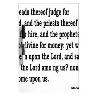 Micah 3:11 dry erase white board