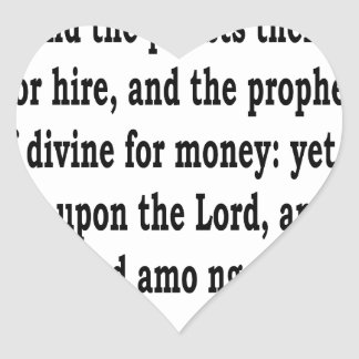 Micah 3:11 heart sticker