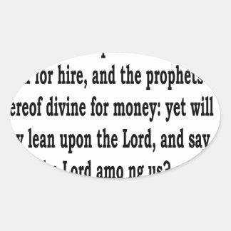 Micah 3:11 oval sticker