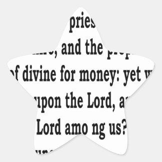 Micah 3:11 star sticker