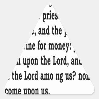 Micah 3:11 triangle sticker