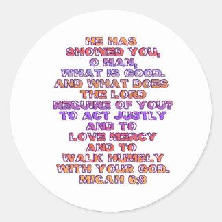 Micah 6:8 classic round sticker
