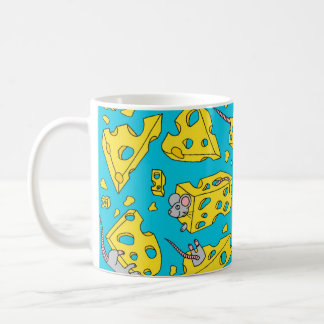 Mice and Cheese Blue Coffee Mug