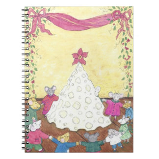 Mice around a Cheese Christmas Tree Spiral Notebooks