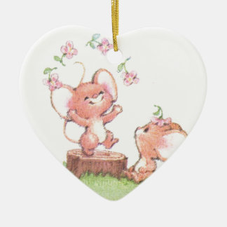 Mice having a little summer fun ceramic heart ornament