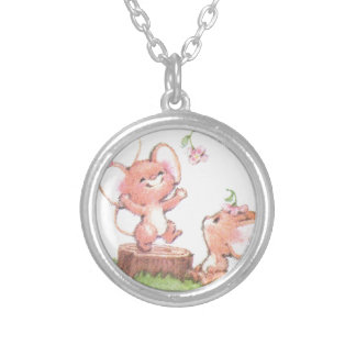 Mice having a little summer fun silver plated necklace