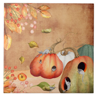 Mice Mouse Thanksgiving Illustration Ceramic Tile
