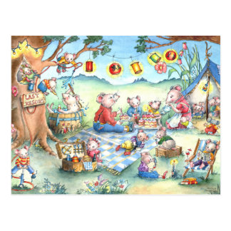 Mice Picknick Postcard
