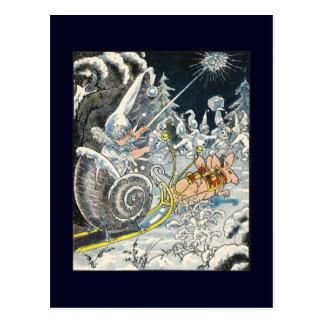 Mice Pulling Snail Shell Sleigh Postcard