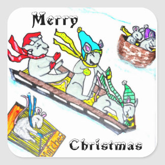 MICE SLEDDING IN SNOW stickers