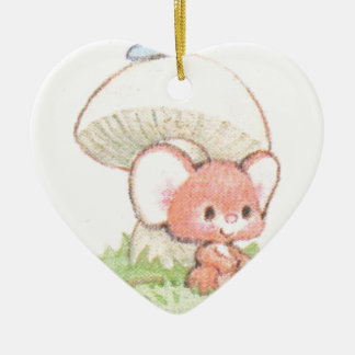 Mice Summertime Daydreaming Ceramic Heart Ornament