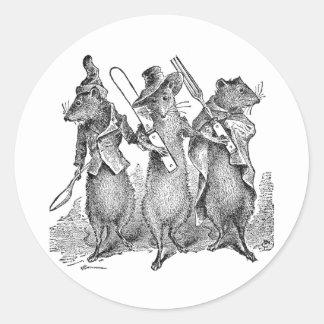 Mice with Silverware Classic Round Sticker