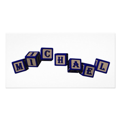 Michael toy blocks in blue photo card