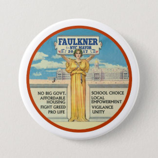 Michel Faulkner for New York City Mayor 2017 3 Inch Round Button