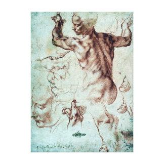 Michelangelo Buonarroti Studies for Libyan Sibyl Canvas Print