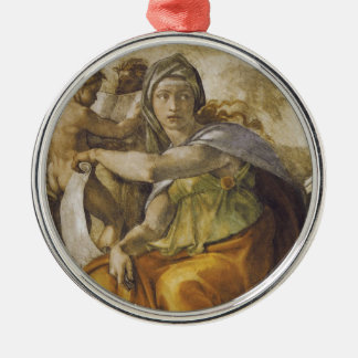 Michelangelo Delphic Sibyl Silver-Colored Round Ornament