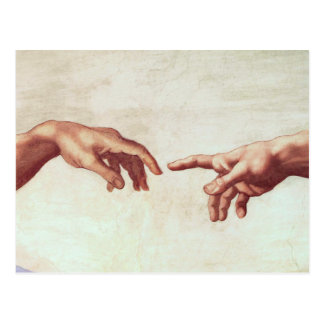 Michelangelo Hands Postcard