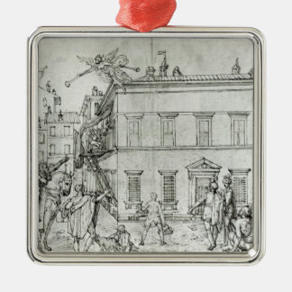Michelangelo on horseback, visiting an artist Silver-Colored square ornament