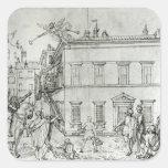 Michelangelo on horseback, visiting an artist square sticker