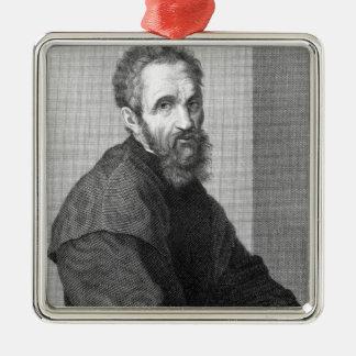 Michelangelo Silver-Colored Square Ornament