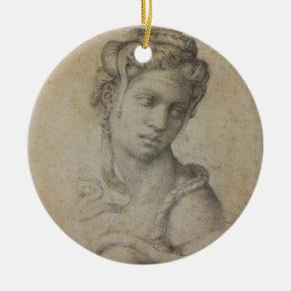 Michelangelo's Cleopatra Round Ceramic Ornament
