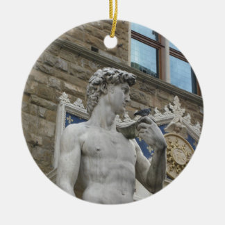 Michelangelo's David  Florence, Italy Round Ceramic Ornament
