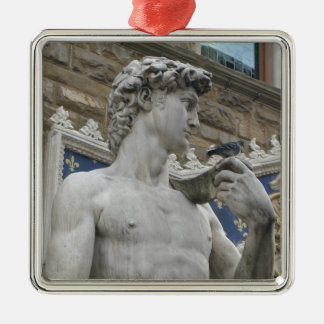 Michelangelo's David  Florence, Italy Silver-Colored Square Ornament