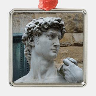 Michelangelo's David Silver-Colored Square Ornament